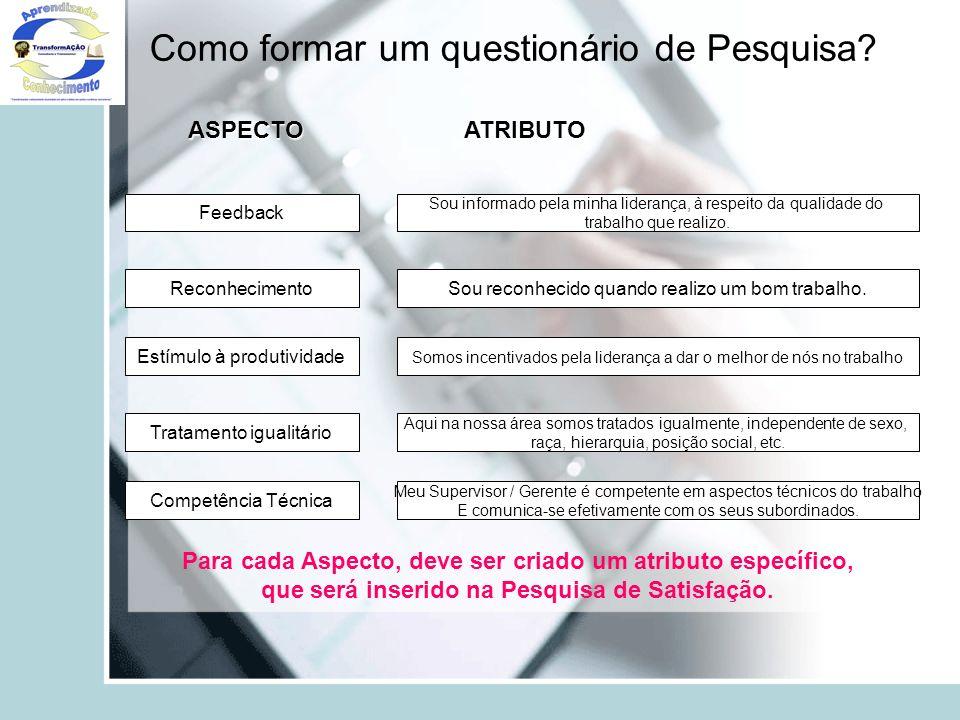 Como formar um questionário de Pesquisa? Feedback Reconhecimento Estímulo à produtividade Tratamento igualitário Competência Técnica ASPECTOATRIBUTO S