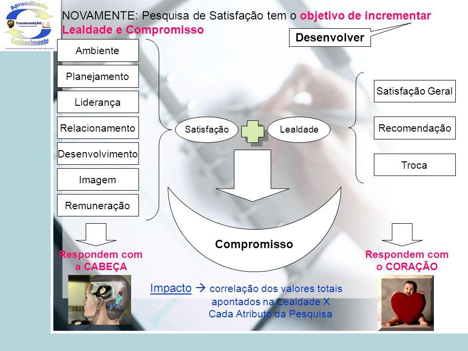 Ambiente Planejamento Liderança Relacionamento Desenvolvimento Imagem Remuneração Respondem com a CABEÇA SatisfaçãoLealdade Troca Recomendação Satisfa