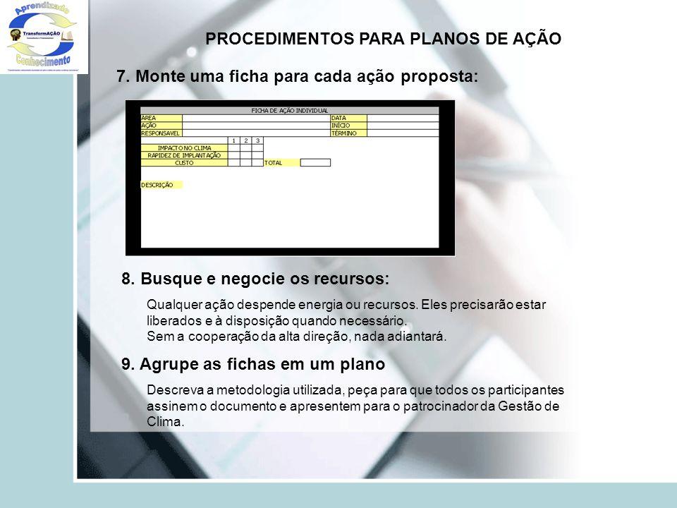 PROCEDIMENTOS PARA PLANOS DE AÇÃO 7. Monte uma ficha para cada ação proposta: 8. Busque e negocie os recursos: Qualquer ação despende energia ou recur