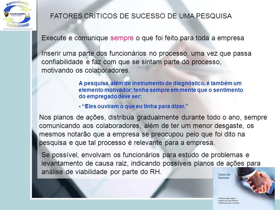 FATORES CRÍTICOS DE SUCESSO DE UMA PESQUISA Execute e comunique sempre o que foi feito para toda a empresa Inserir uma parte dos funcionários no proce