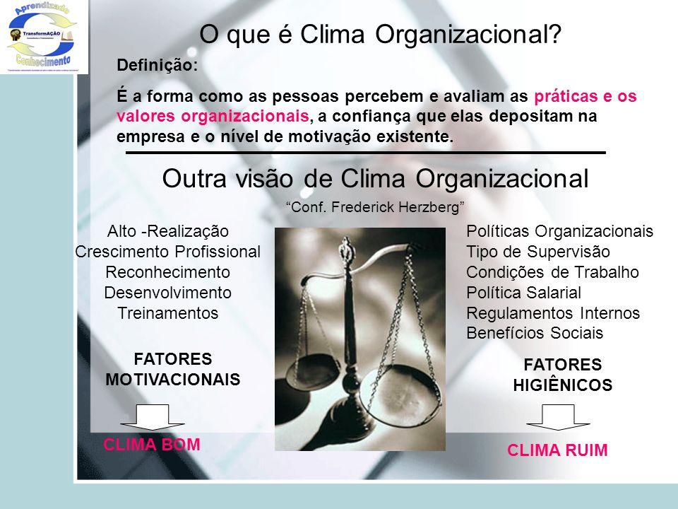 O que é Clima Organizacional? Definição: É a forma como as pessoas percebem e avaliam as práticas e os valores organizacionais, a confiança que elas d