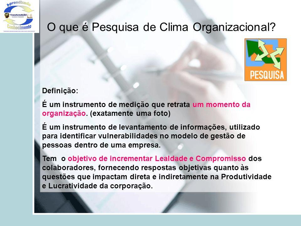 O que é Pesquisa de Clima Organizacional? Definição: É um instrumento de medição que retrata um momento da organização. (exatamente uma foto) É um ins