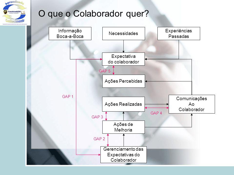 O que o Colaborador quer? Expectativa do colaborador Informação Boca-a-Boca Necessidades Experiências Passadas Gerenciamento das Expectativas do Colab