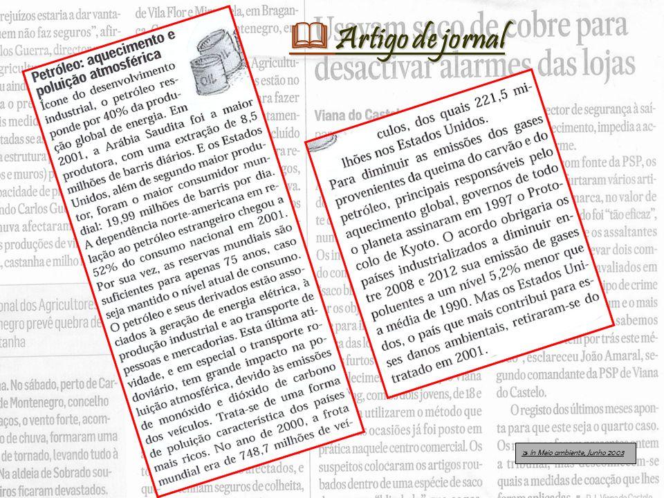 In Meio ambiente, Junho 2003 Artigo de jornal Artigo de jornal