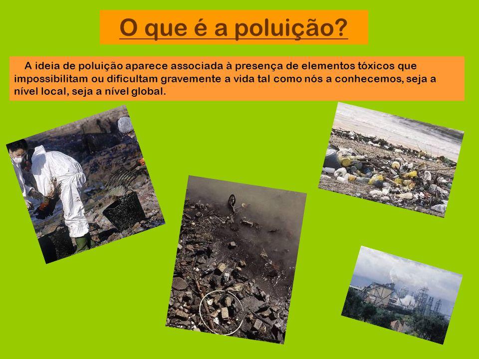 O que é a poluição? A ideia de poluição aparece associada à presença de elementos tóxicos que impossibilitam ou dificultam gravemente a vida tal como