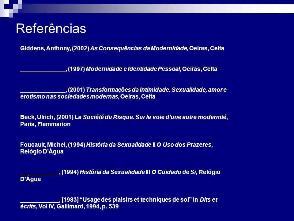 Referências Giddens, Anthony, (2002) As Consequências da Modernidade, Oeiras, Celta ______________, (1997) Modernidade e Identidade Pessoal, Oeiras, C