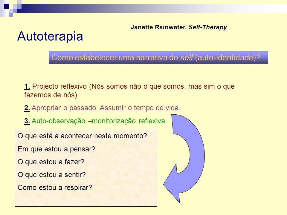 Autoterapia Janette Rainwater, Self-Therapy Como estabelecer uma narrativa do self (auto-identidade)? 1. Projecto reflexivo (Nós somos não o que somos