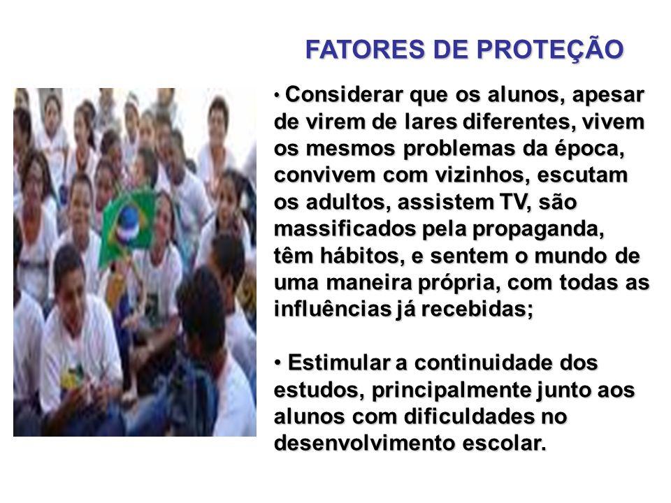FATORES DE PROTEÇÃO Produzir uma ação educativa, objetivando a promoção do homem; Produzir uma ação educativa, objetivando a promoção do homem; Verbal