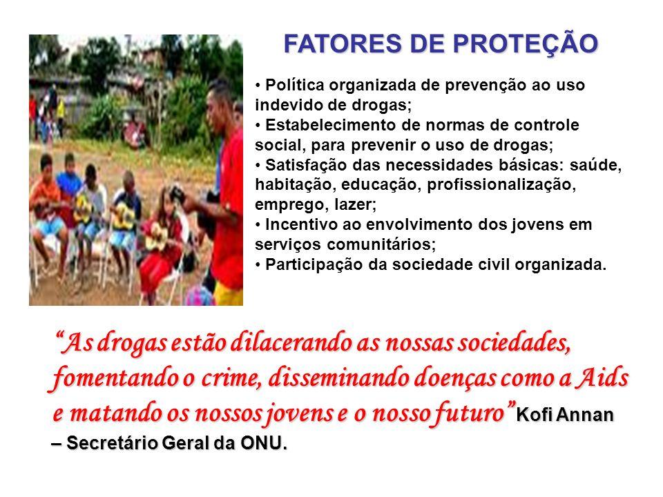 PREVENÇÃO NA COMUNIDADE FATORES DE RISCO Poder público desorganizado; Poder público desorganizado; Marginalização social, falta de oportunidades sócio