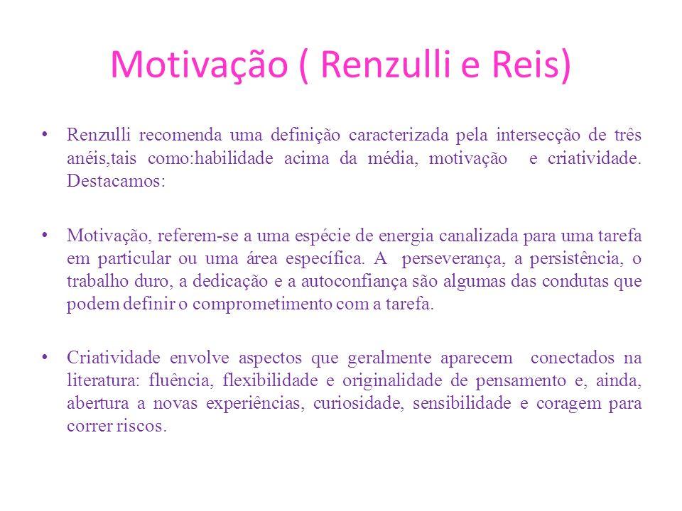 Motivação ( Renzulli e Reis) Renzulli recomenda uma definição caracterizada pela intersecção de três anéis,tais como:habilidade acima da média, motiva