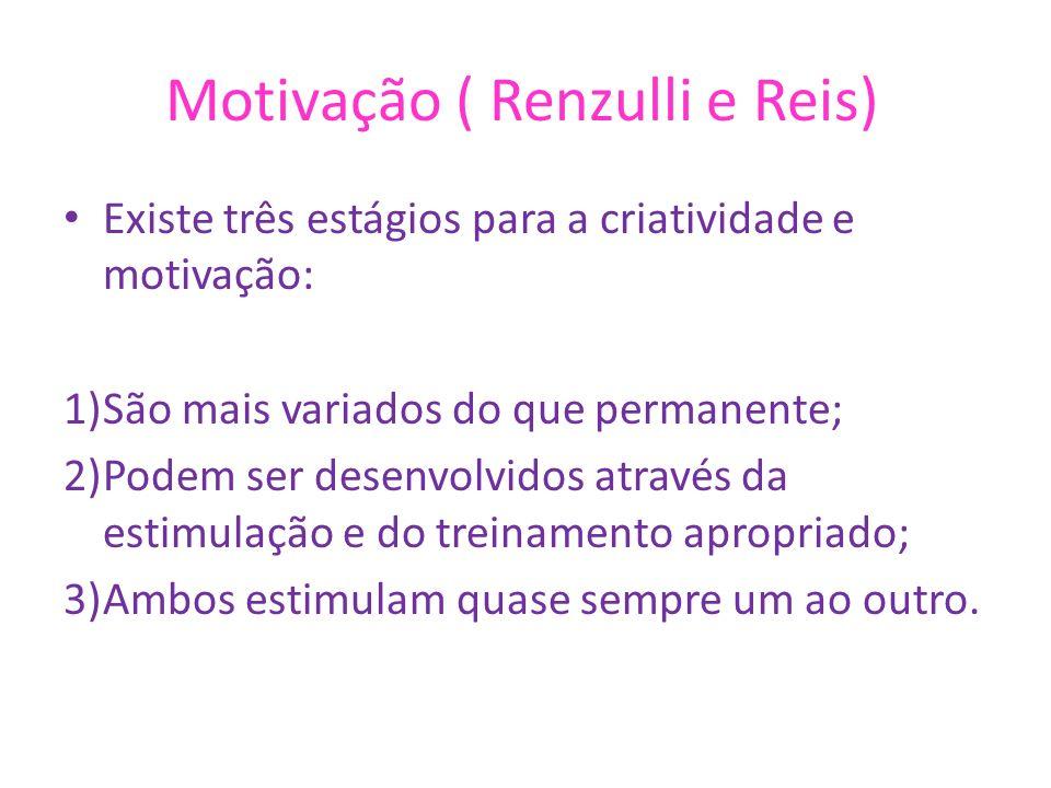 Motivação ( Renzulli e Reis) Existe três estágios para a criatividade e motivação: 1)São mais variados do que permanente; 2)Podem ser desenvolvidos at