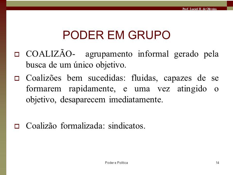Prof. Luciel H. de Oliveira Poder e Política14 PODER EM GRUPO COALIZÃO- agrupamento informal gerado pela busca de um único objetivo. Coalizões bem suc