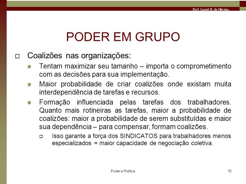 Prof. Luciel H. de Oliveira Poder e Política15 PODER EM GRUPO Coalizões nas organizações: Tentam maximizar seu tamanho – importa o comprometimento com
