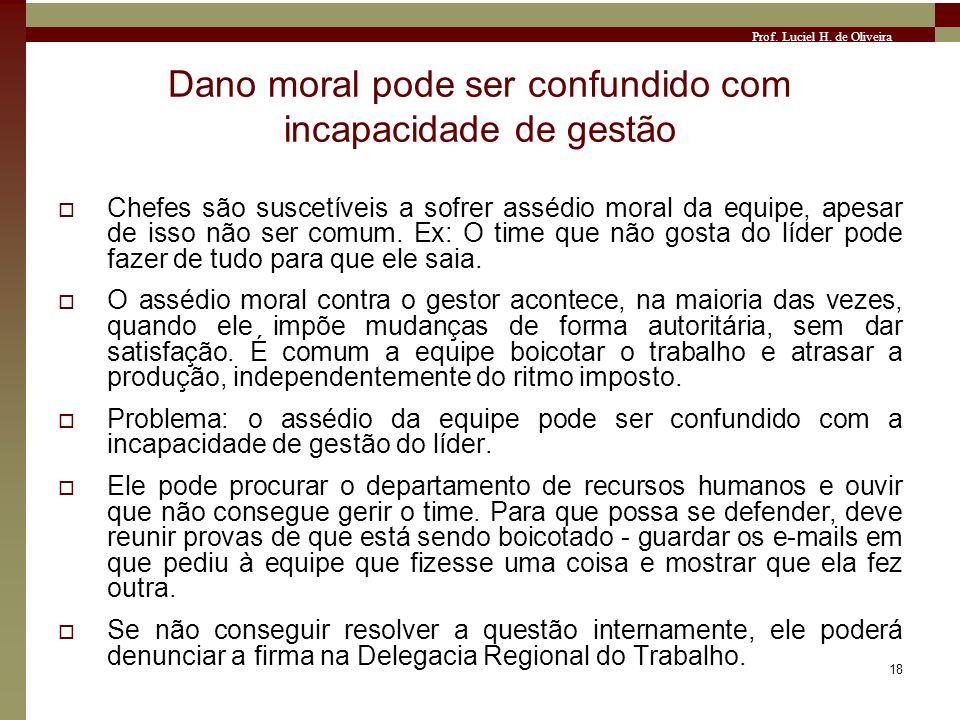 Prof. Luciel H. de Oliveira 18 Dano moral pode ser confundido com incapacidade de gestão Chefes são suscetíveis a sofrer assédio moral da equipe, apes