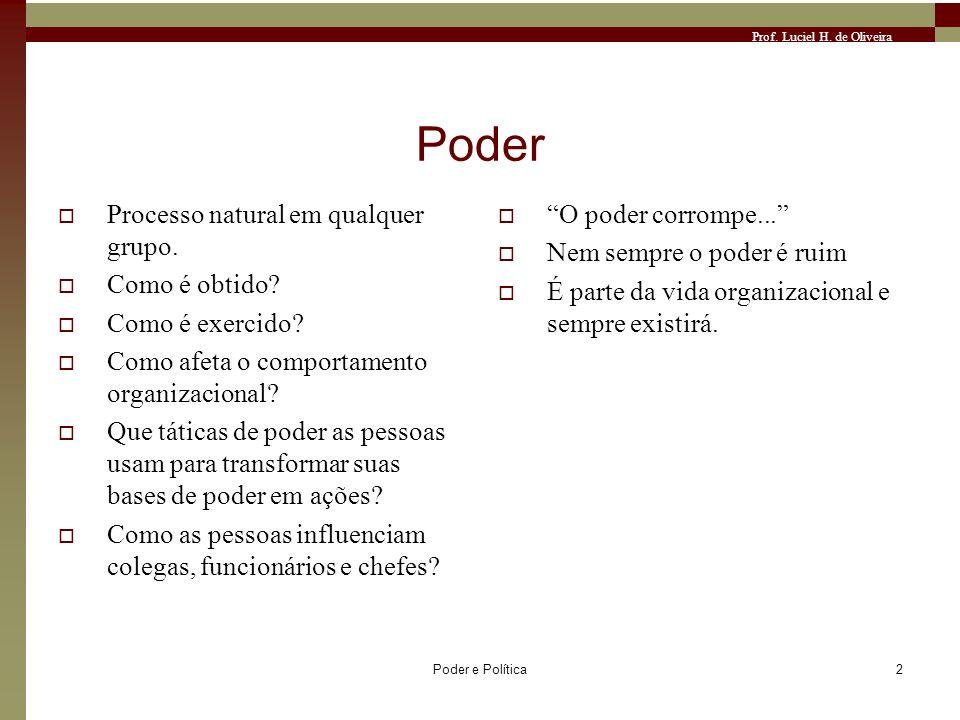 Prof. Luciel H. de Oliveira Poder e Política2 Poder Processo natural em qualquer grupo. Como é obtido? Como é exercido? Como afeta o comportamento org