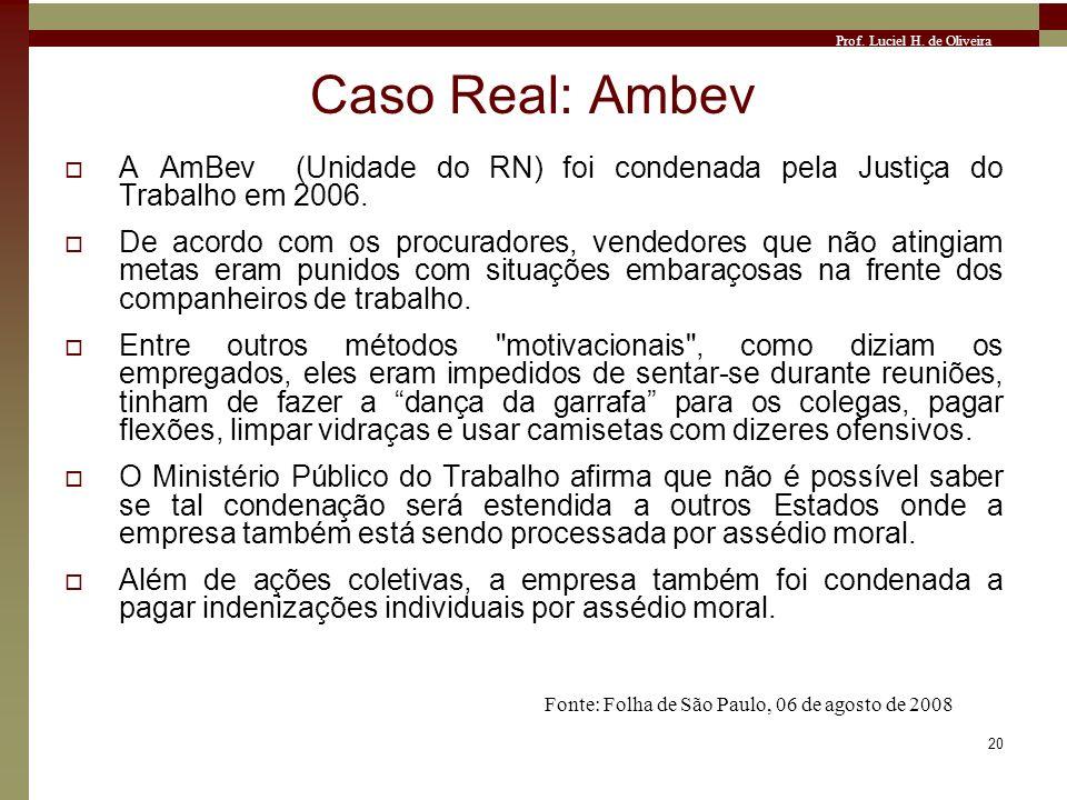 Prof. Luciel H. de Oliveira 20 Caso Real: Ambev A AmBev (Unidade do RN) foi condenada pela Justiça do Trabalho em 2006. De acordo com os procuradores,