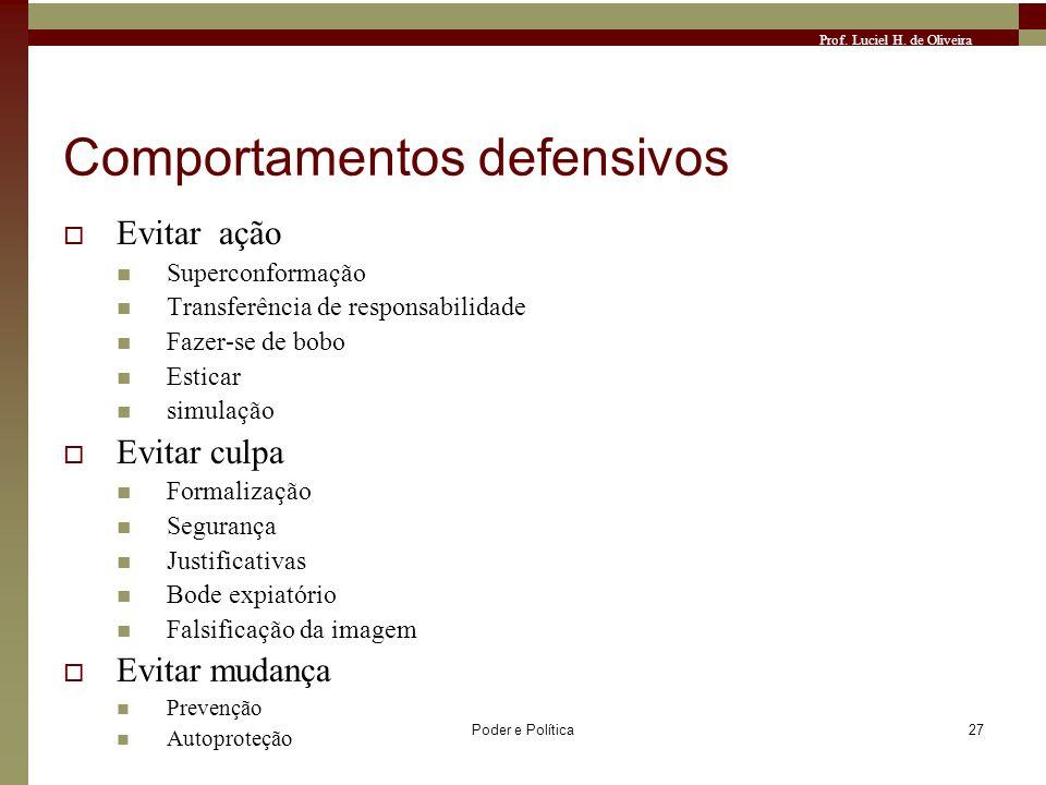 Prof. Luciel H. de Oliveira Poder e Política27 Comportamentos defensivos Evitar ação Superconformação Transferência de responsabilidade Fazer-se de bo