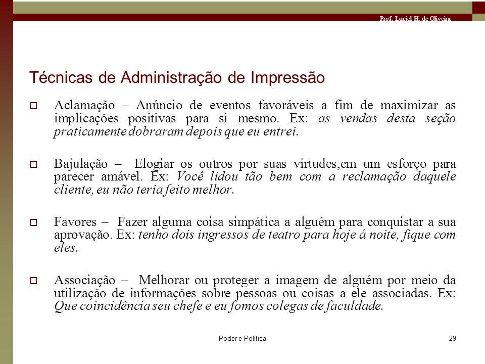 Prof. Luciel H. de Oliveira Poder e Política29 Técnicas de Administração de Impressão Aclamação – Anúncio de eventos favoráveis a fim de maximizar as