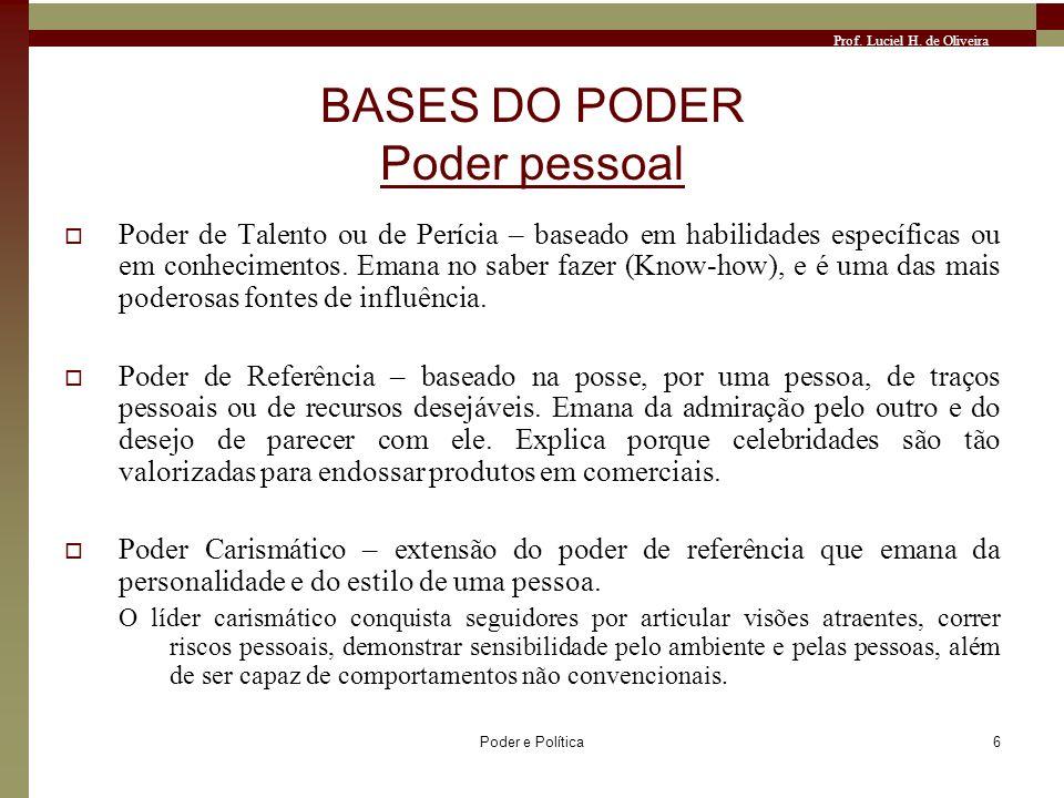 Prof. Luciel H. de Oliveira Poder e Política6 BASES DO PODER Poder pessoal Poder de Talento ou de Perícia – baseado em habilidades específicas ou em c