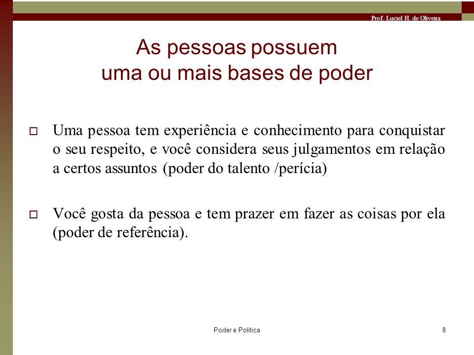 Prof. Luciel H. de Oliveira Poder e Política8 As pessoas possuem uma ou mais bases de poder Uma pessoa tem experiência e conhecimento para conquistar