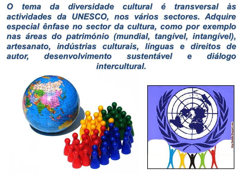 O tema da diversidade cultural é transversal às actividades da UNESCO, nos vários sectores. Adquire especial ênfase no sector da cultura, como por exe