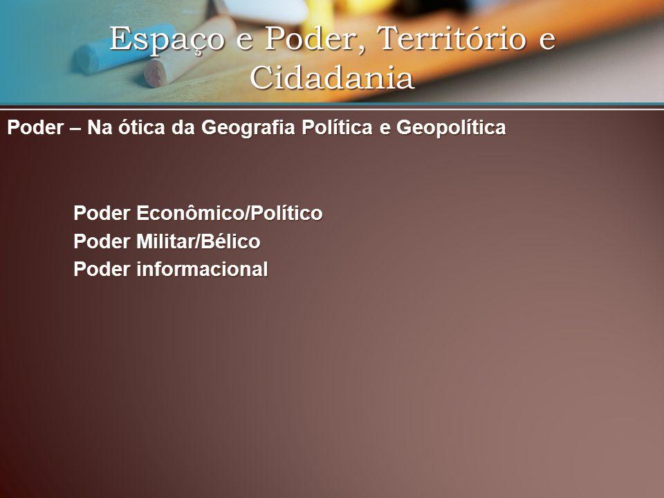 Espaço e Poder, Território e Cidadania Poder – Na ótica da Geografia Política e Geopolítica Poder Econômico/Político Poder Militar/Bélico Poder inform