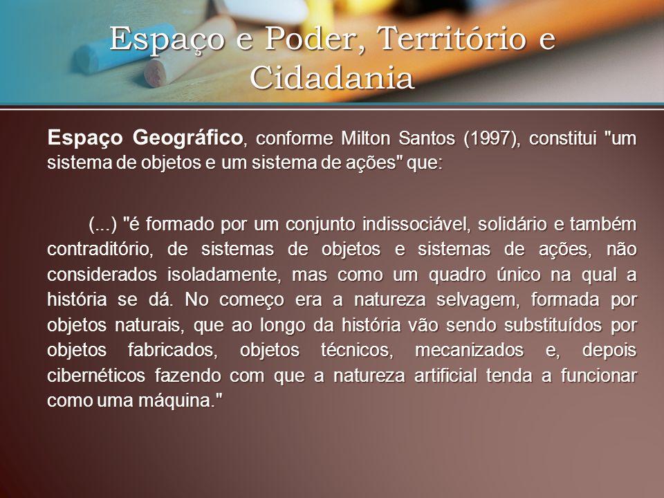 Espaço e Poder, Território e Cidadania Espaço Geográfico, conforme Milton Santos (1997), constitui