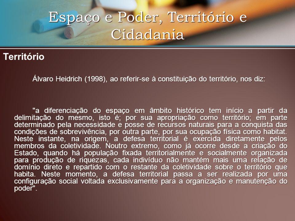 Espaço e Poder, Território e Cidadania Território Álvaro Heidrich (1998), ao referir-se à constituição do território, nos diz: