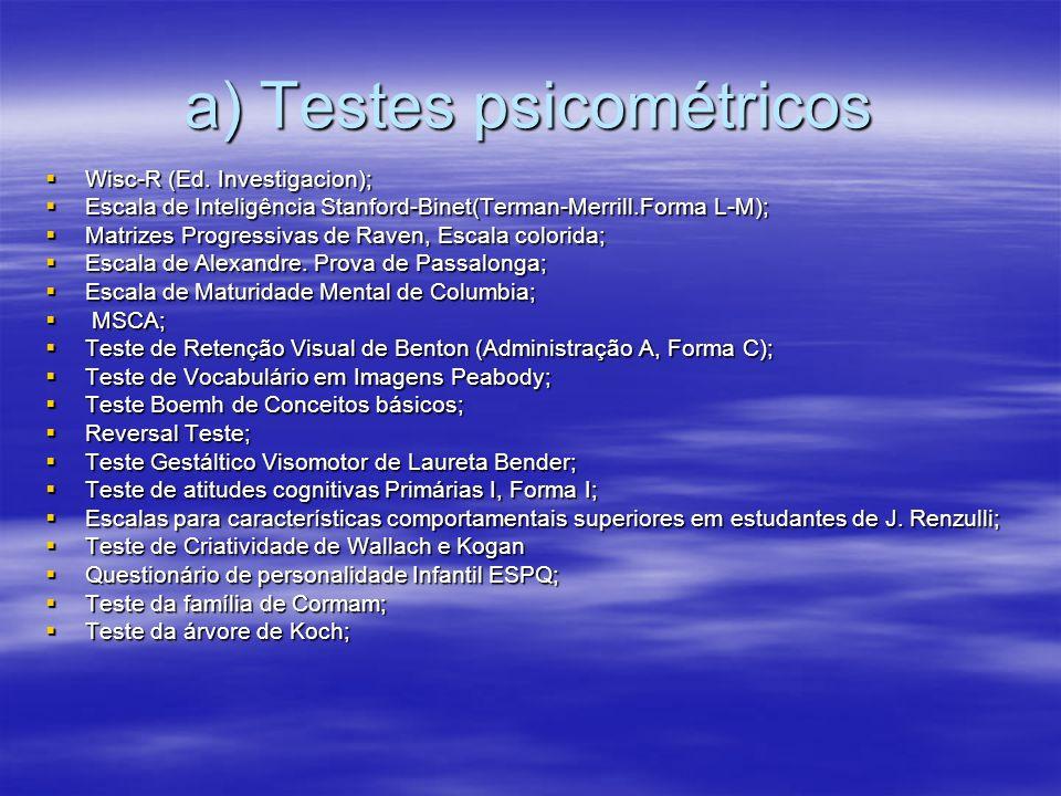 a) Testes psicométricos Wisc-R (Ed. Investigacion); Wisc-R (Ed. Investigacion); Escala de Inteligência Stanford-Binet(Terman-Merrill.Forma L-M); Escal