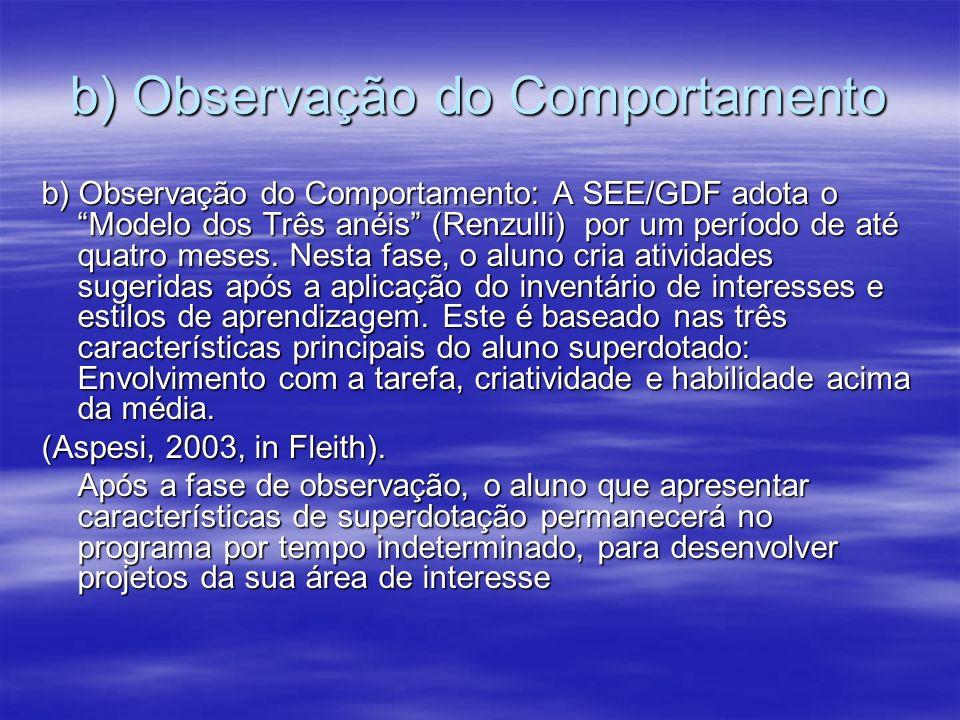 b) Observação do Comportamento b) Observação do Comportamento: A SEE/GDF adota o Modelo dos Três anéis (Renzulli) por um período de até quatro meses.