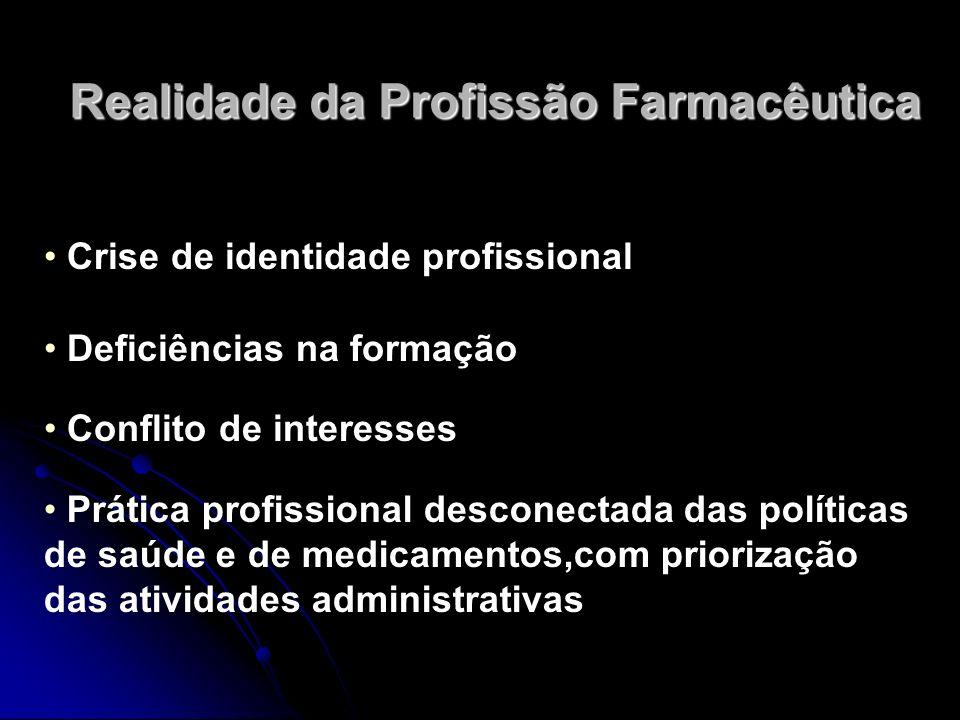Realidade da Profissão Farmacêutica Crise de identidade profissional Deficiências na formação Conflito de interesses Prática profissional desconectada