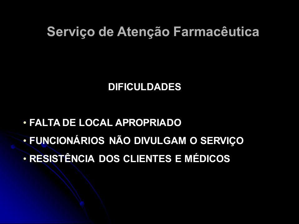 Serviço de Atenção Farmacêutica DIFICULDADES FALTA DE LOCAL APROPRIADO FUNCIONÁRIOS NÃO DIVULGAM O SERVIÇO RESISTÊNCIA DOS CLIENTES E MÉDICOS