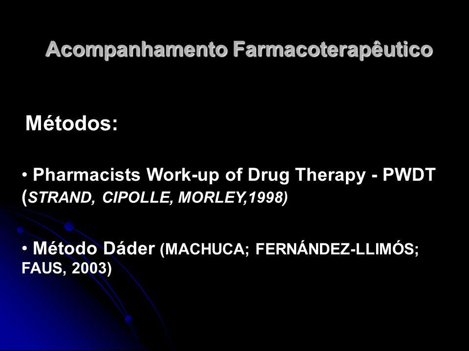 Acompanhamento Farmacoterapêutico Métodos: Pharmacists Work-up of Drug Therapy - PWDT ( STRAND, CIPOLLE, MORLEY,1998) Método Dáder (MACHUCA; FERNÁNDEZ