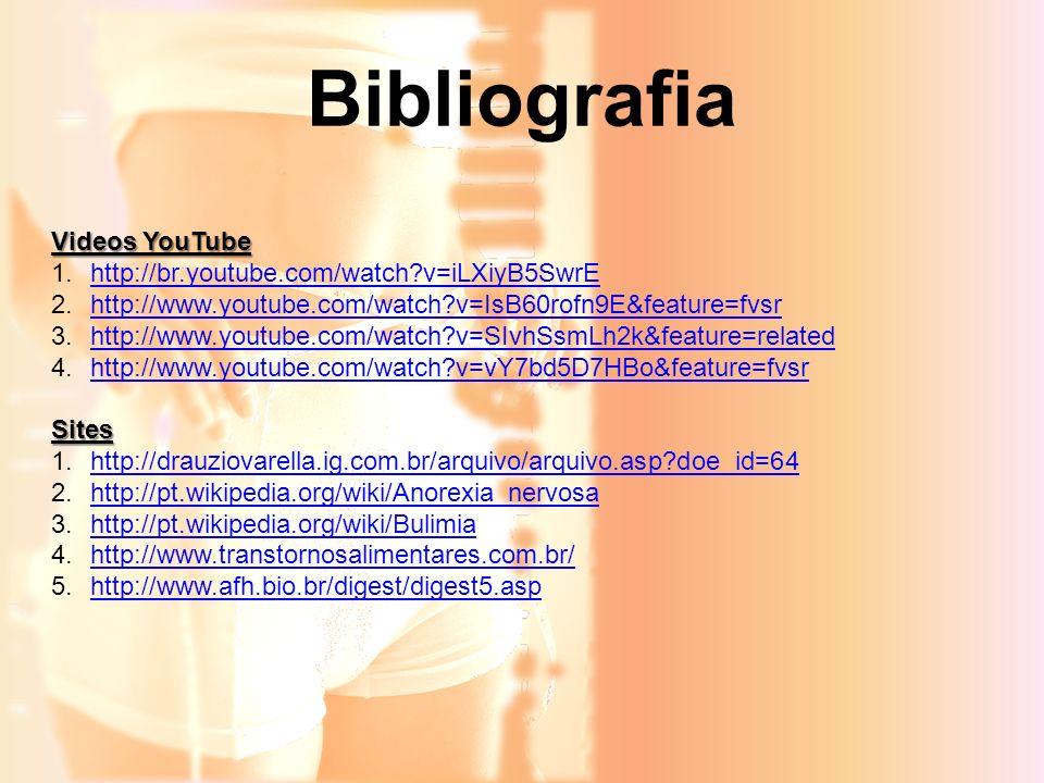 Bibliografia Videos YouTube 1.http://br.youtube.com/watch?v=iLXiyB5SwrEhttp://br.youtube.com/watch?v=iLXiyB5SwrE 2.http://www.youtube.com/watch?v=IsB6