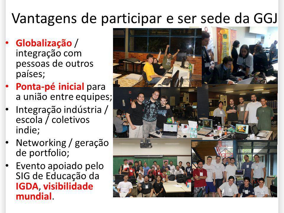 Vantagens de participar e ser sede da GGJ Globalização / integração com pessoas de outros países; Ponta-pé inicial para a união entre equipes; Integra