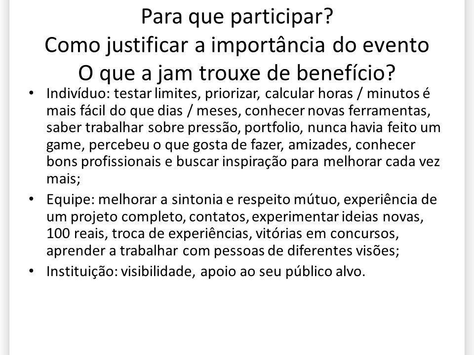 Para que participar? Como justificar a importância do evento O que a jam trouxe de benefício? Indivíduo: testar limites, priorizar, calcular horas / m