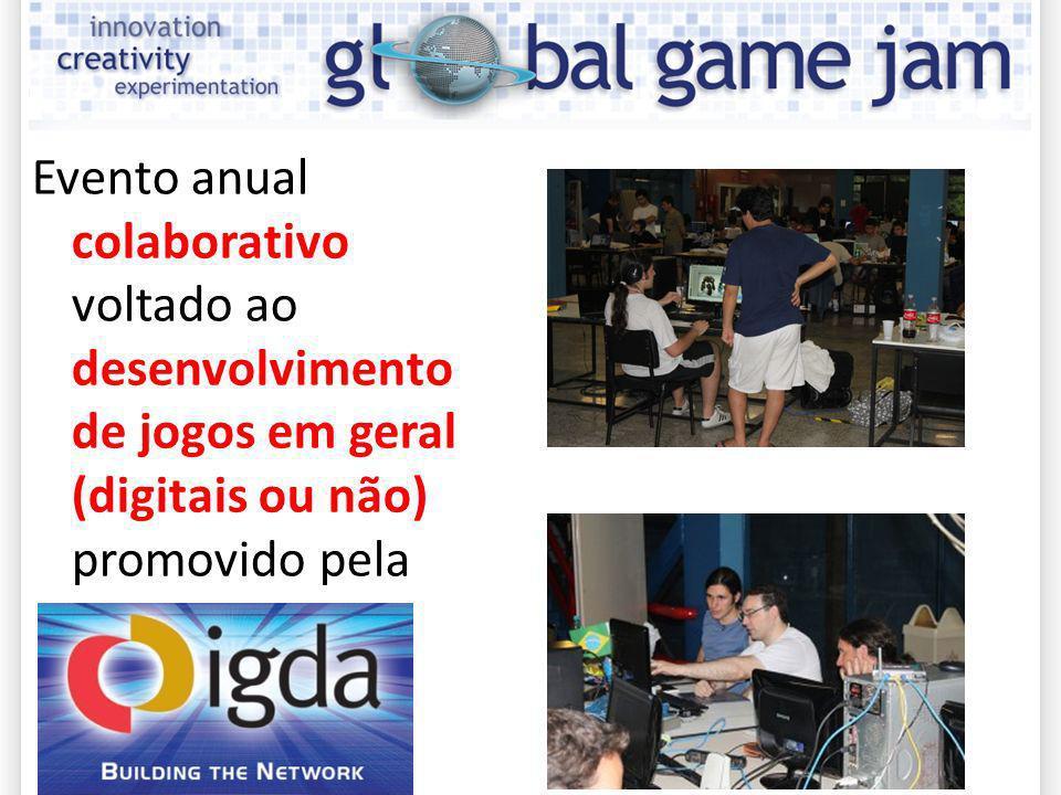 Vantagens de participar e ser sede da GGJ Globalização / integração com pessoas de outros países; Ponta-pé inicial para a união entre equipes; Integração indústria / escola / coletivos indie; Networking / geração de portfolio; Evento apoiado pelo SIG de Educação da IGDA, visibilidade mundial.