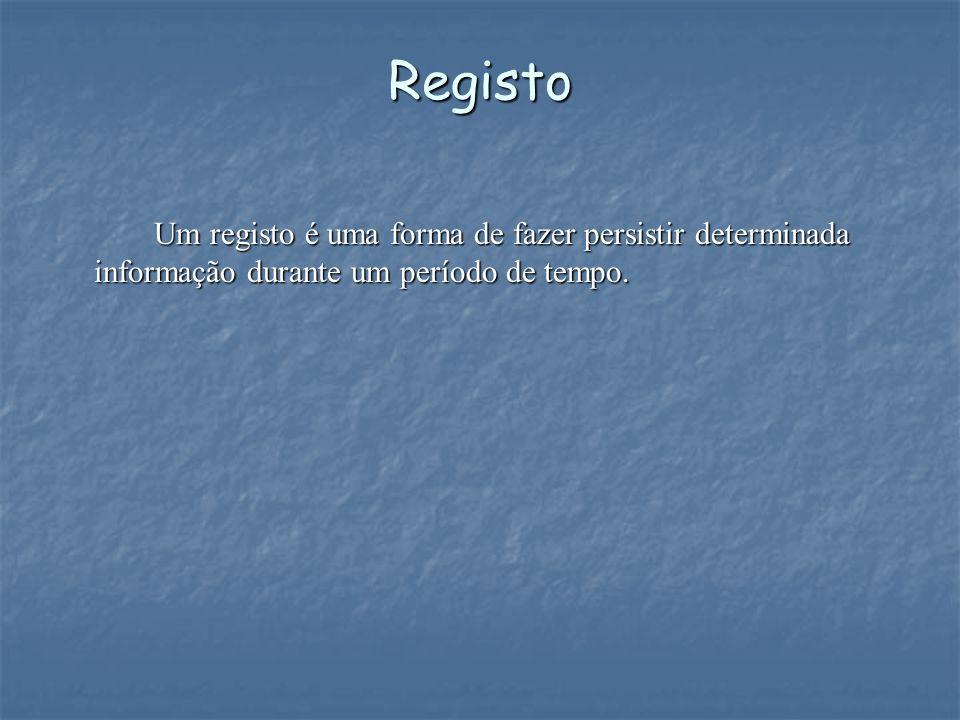 Registo Um registo é uma forma de fazer persistir determinada informação durante um período de tempo.