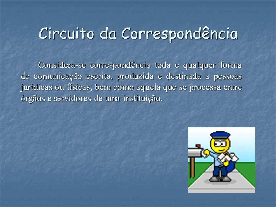 Circuito da Correspondência Considera-se correspondência toda e qualquer forma de comunicação escrita, produzida e destinada a pessoas jurídicas ou fí