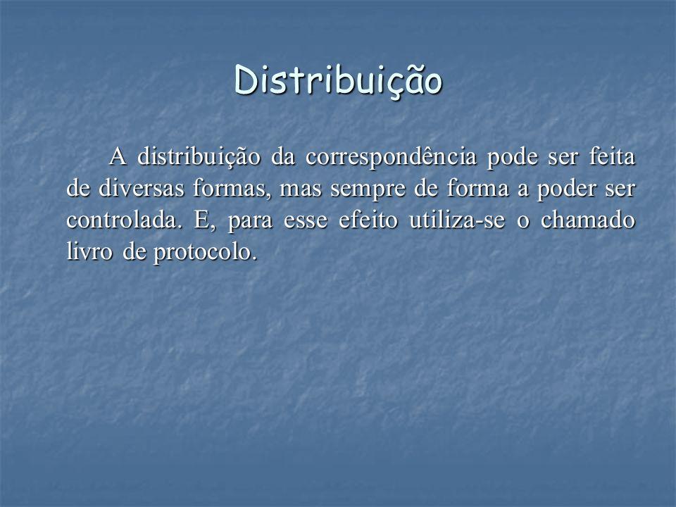 Distribuição A distribuição da correspondência pode ser feita de diversas formas, mas sempre de forma a poder ser controlada. E, para esse efeito util