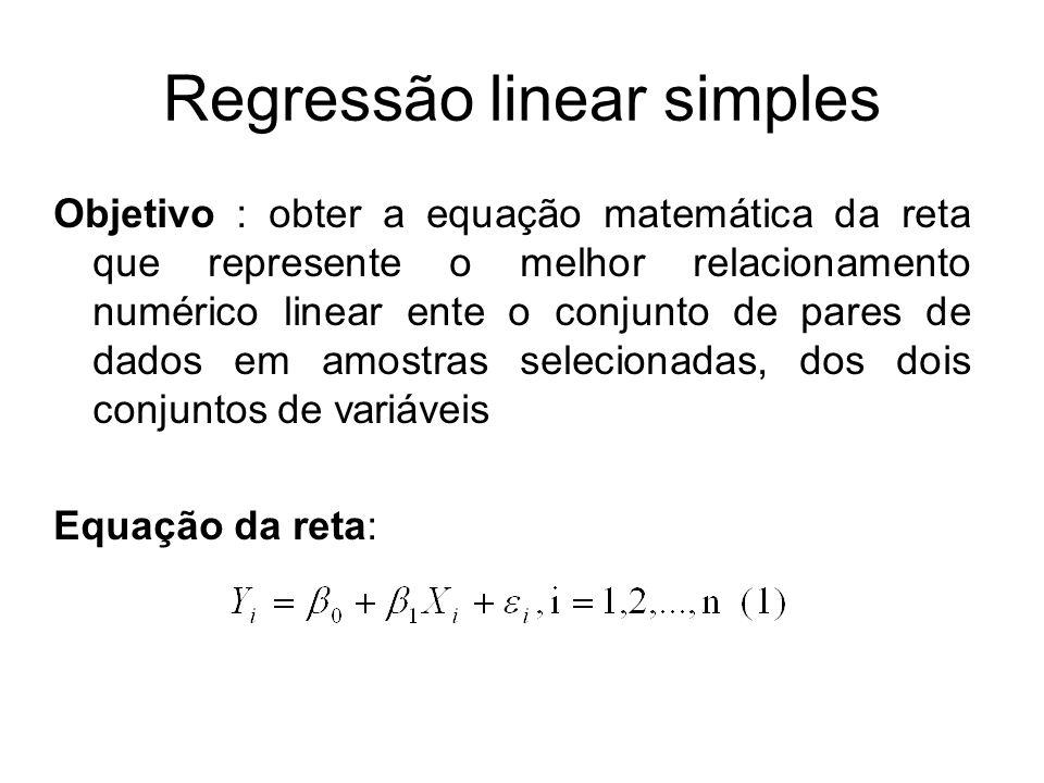 Regressão linear simples Objetivo : obter a equação matemática da reta que represente o melhor relacionamento numérico linear ente o conjunto de pares