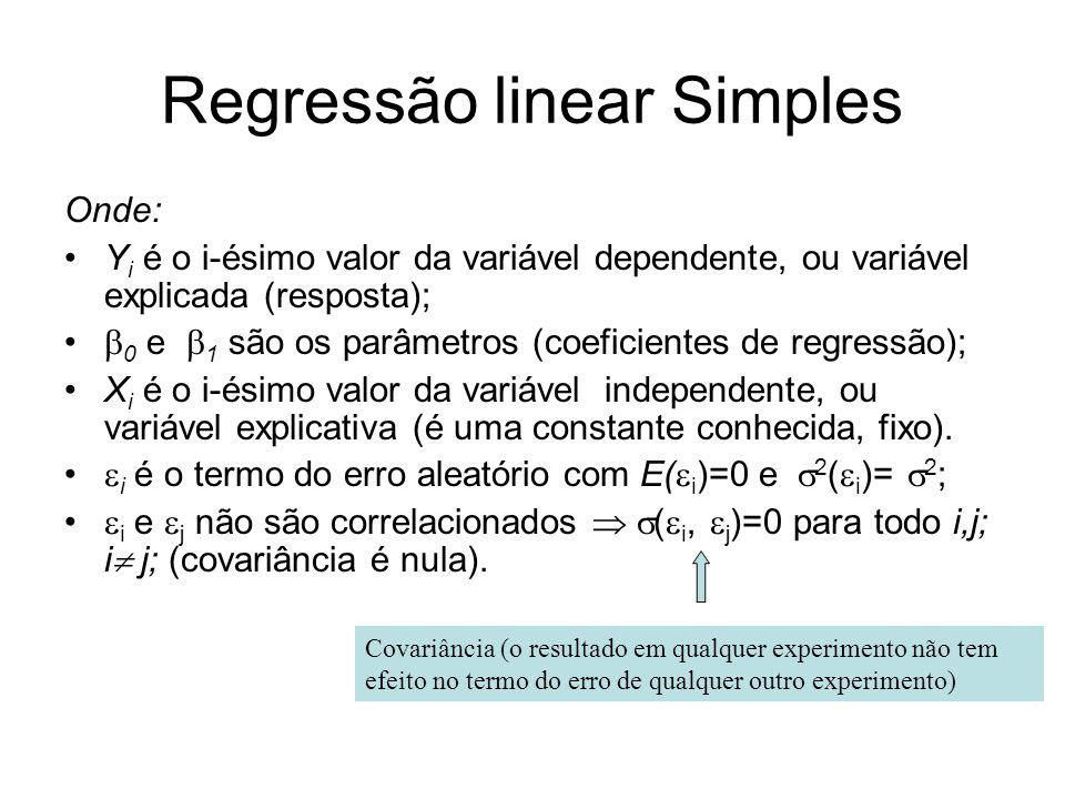 Regressão linear Simples Onde: Y i é o i-ésimo valor da variável dependente, ou variável explicada (resposta); 0 e 1 são os parâmetros (coeficientes d