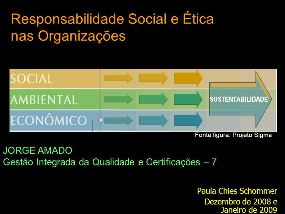 Responsabilidade Social e Ética nas Organizações Paula Chies Schommer Dezembro de 2008 e Janeiro de 2009 JORGE AMADO Gestão Integrada da Qualidade e Certificações – 7 SUSTENTABILIDADE Fonte figura: Projeto Sigma