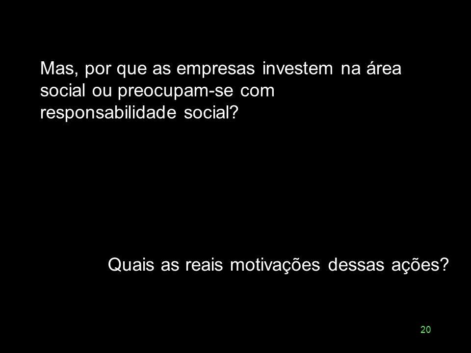 19 Responsabilidade social é uma forma de gerir uma empresa que busca maximizar os efeitos positivos sobre todas as pessoas que são e podem ser impact