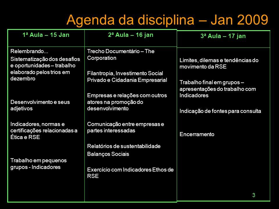 2 Agenda da disciplina – Dez 2008 1ª Aula – 18/122ª Aula – 19/12 Abertura Ética: princípios, definições e relações com responsabilidade social Ética,