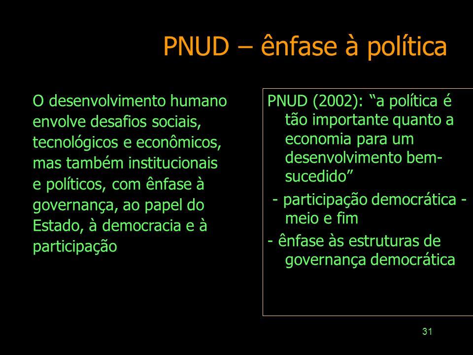 30 Desenvolvimento Processo gradual de mudança social, sugerindo o emprego de estratégias para produzir mudança, de maneira contínua Não existe ponto