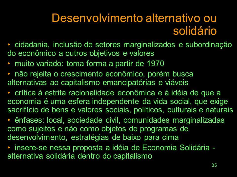 34 Como ter solidariedade com gerações futuras se as necessidades atuais não são satisfeitas? Solidariedade: – inter-gerações –intra-geração: minorias