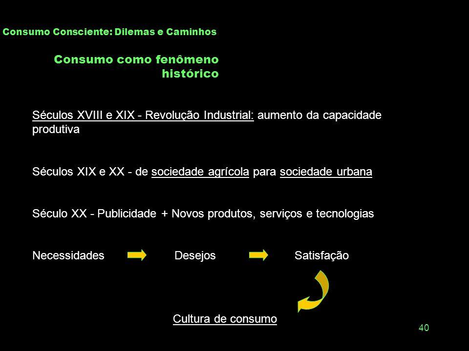 39 Sustentabilidade, Comportamento e Consumo Consciente Consumir com consciência do impacto do ato do consumo sobre a própria pessoa, as relações soci