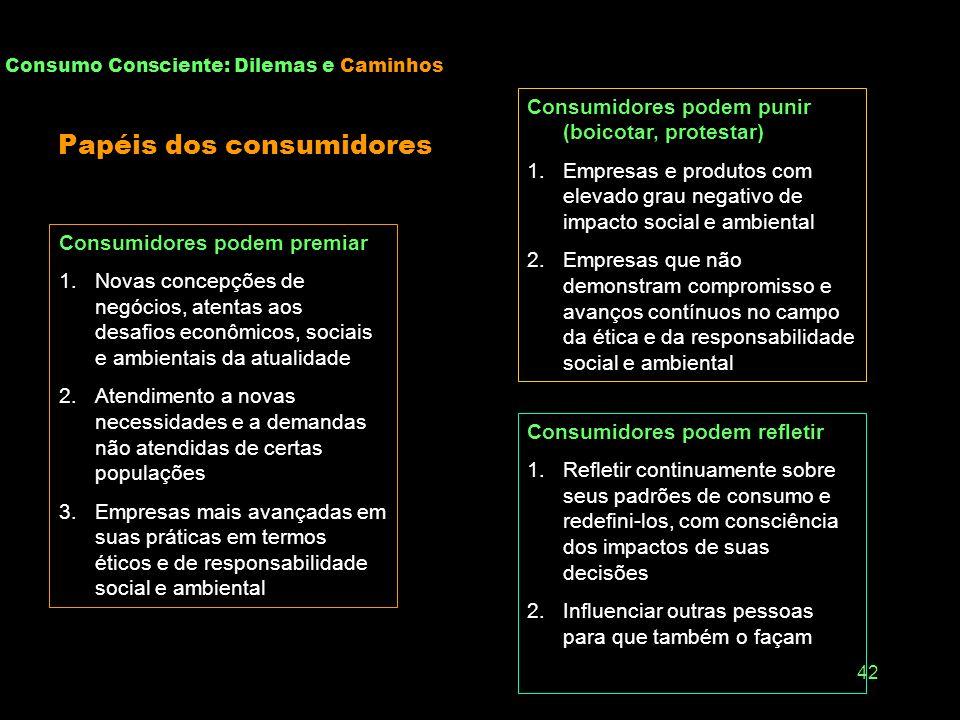 41 Consumo Consciente: Dilemas e Caminhos Consumo como fenômeno... Econômico produção, atendimento de necessidades, renda, riqueza, liberdade definiçã
