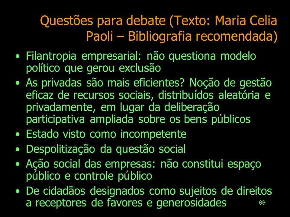 65 IPEA – Instituto de Pesquisa Econômica Aplicada – www.ipea.gov.br/asocial RegiãoMontante Investido*Montante / PIB 2000200420002004 Sudeste5,7 bilhõ